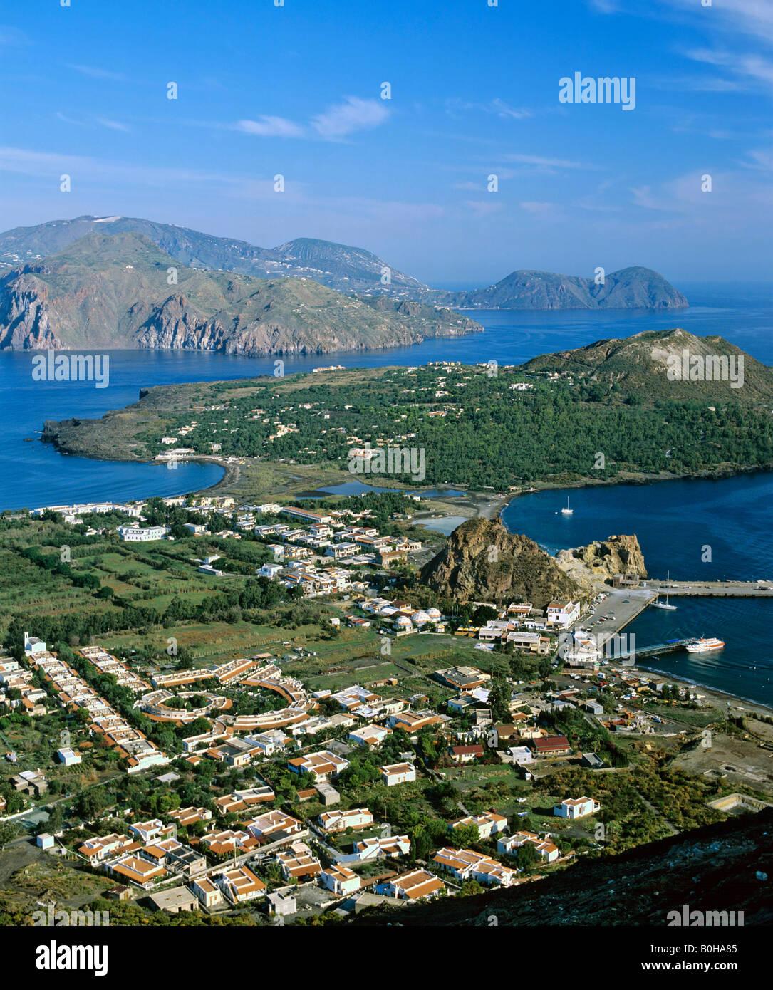 Vulcano, Porto di Levante, view of Vulcanello, aerial view, Lipari Island at back, Aeolian Islands, Sicily, Italy Stock Photo