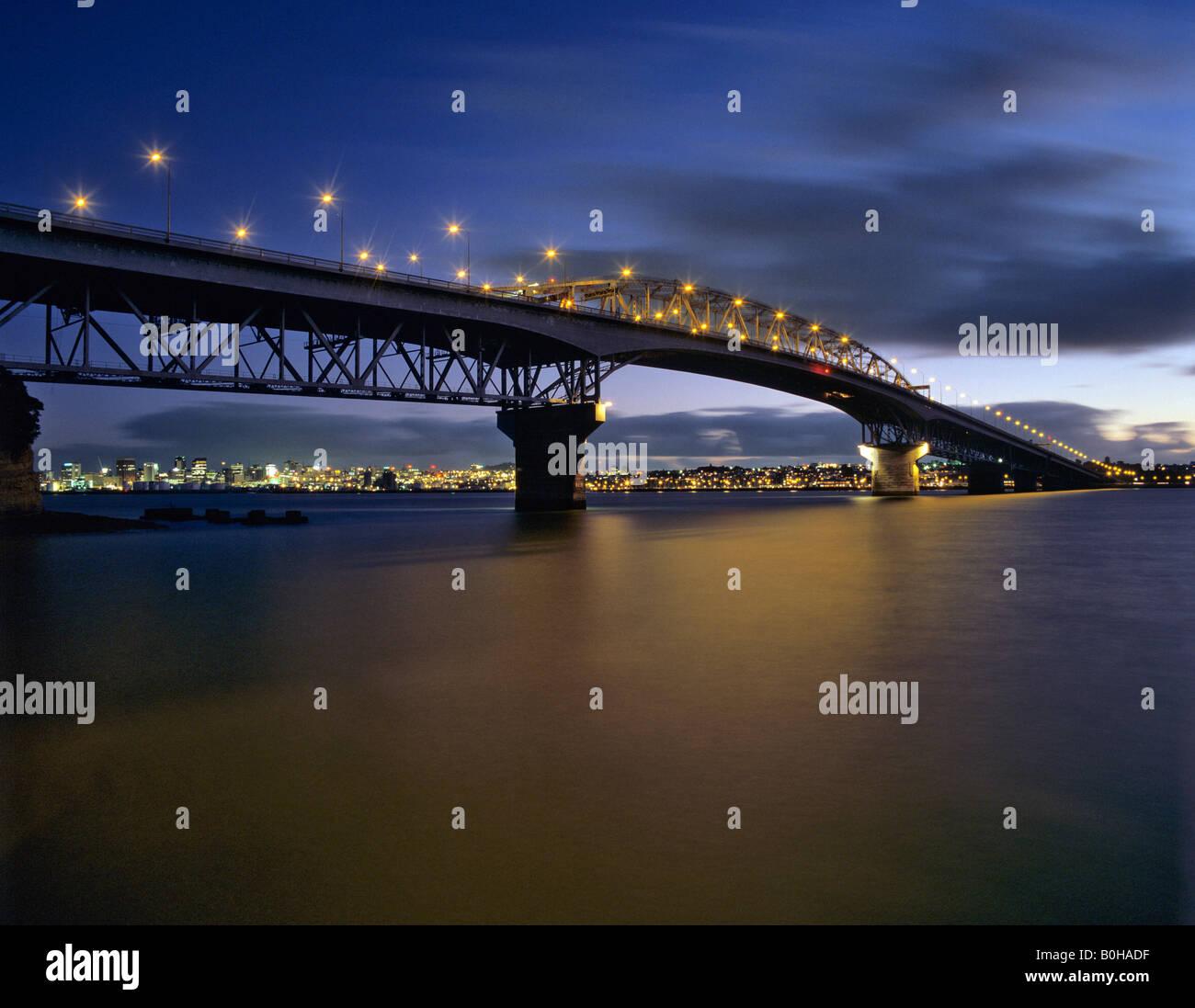Auckland Harbour Bridge, Waitemata Harbour, Saint Mary's Bay, Auckland, New Zealand - Stock Image