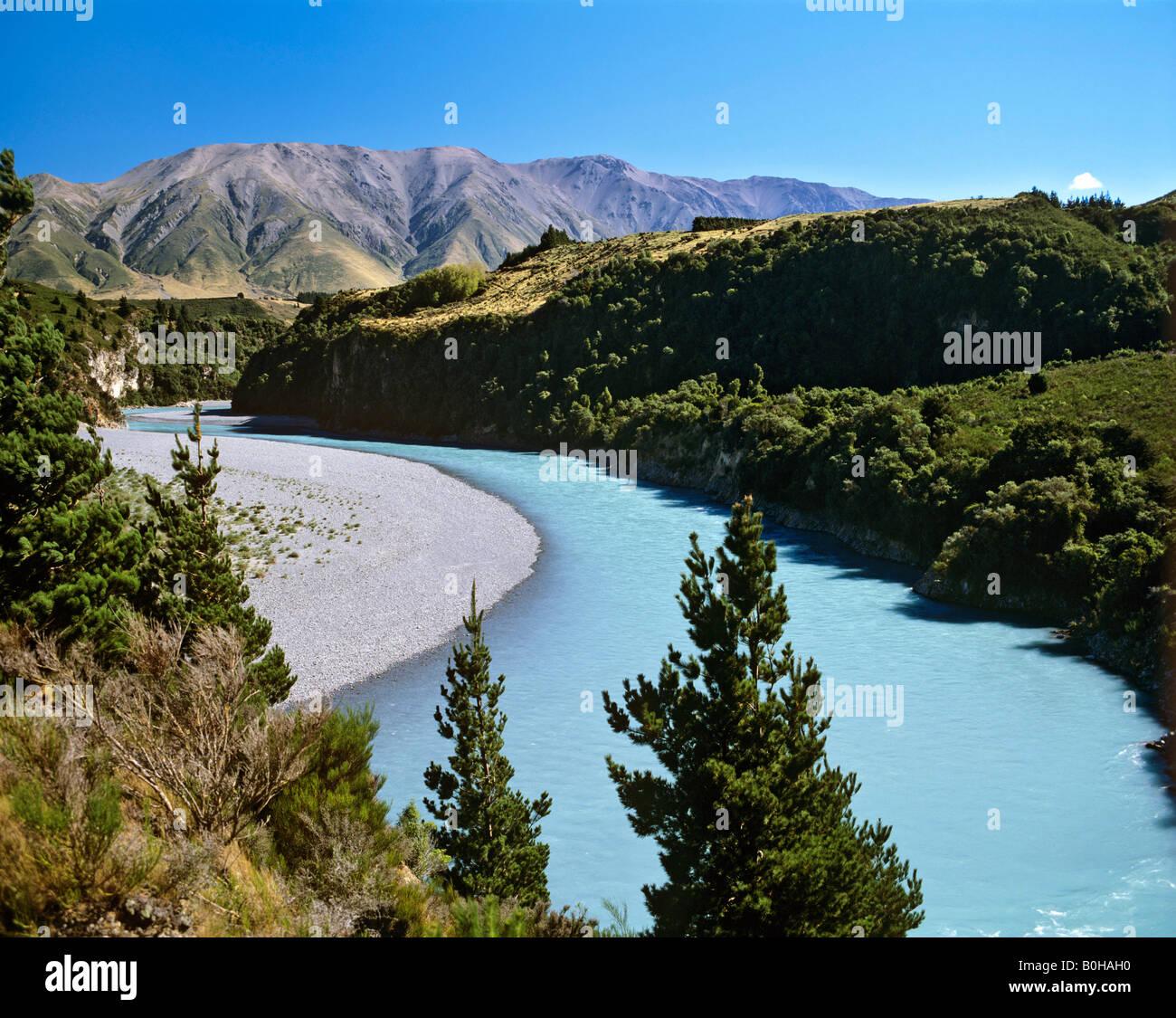 Rakaia Gorge, Rakaia River, Canterbury Plains, South Island, New Zealand - Stock Image