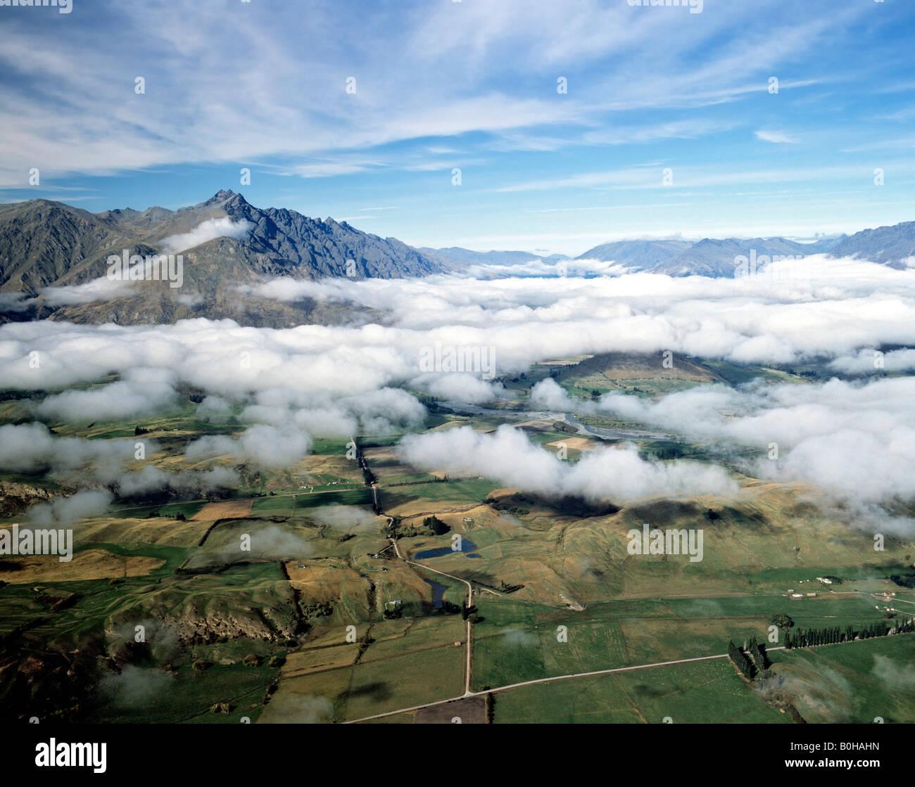 Landscape around Lake Wakatipu, Queenstown, South Island, New Zealand - Stock Image