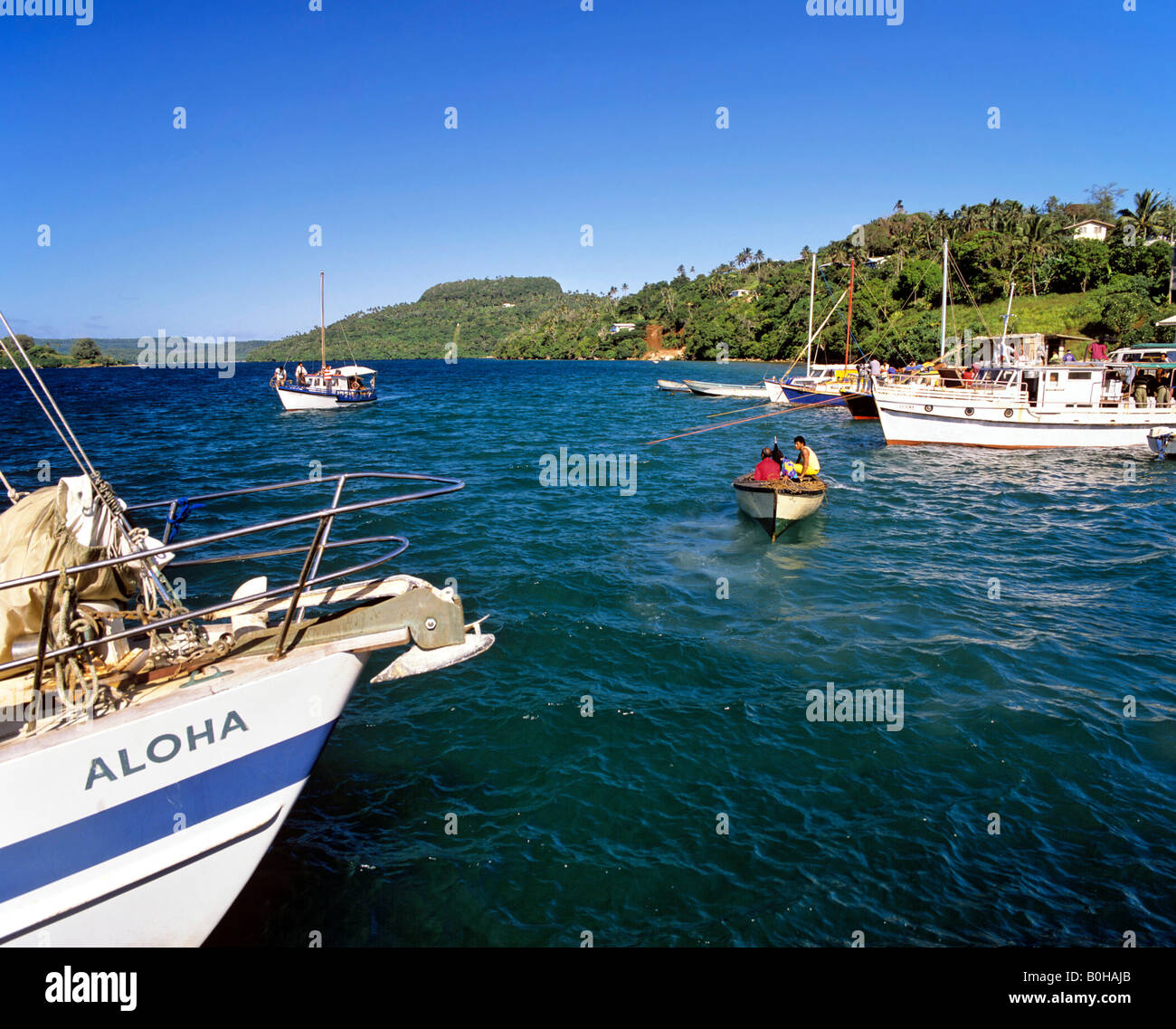 Boats off the coast of Va Vau, Tonga, South Pacific, Oceania - Stock Image