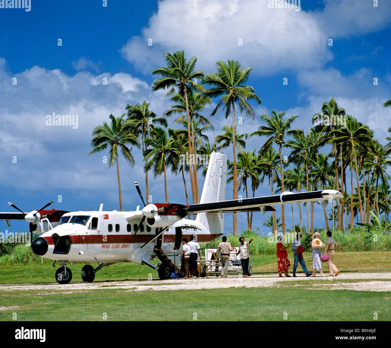 Airport, Friendly Islands Airways, palm trees, Tonga, South Pacific, Oceania - Stock Image