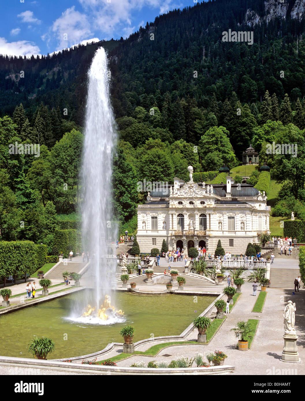 Schloss Linderhof, Linderhof Castle, castle of Ludwig II, Graswangtal Valley, Oberammergau, Upper Bavaria, Bavaria, - Stock Image