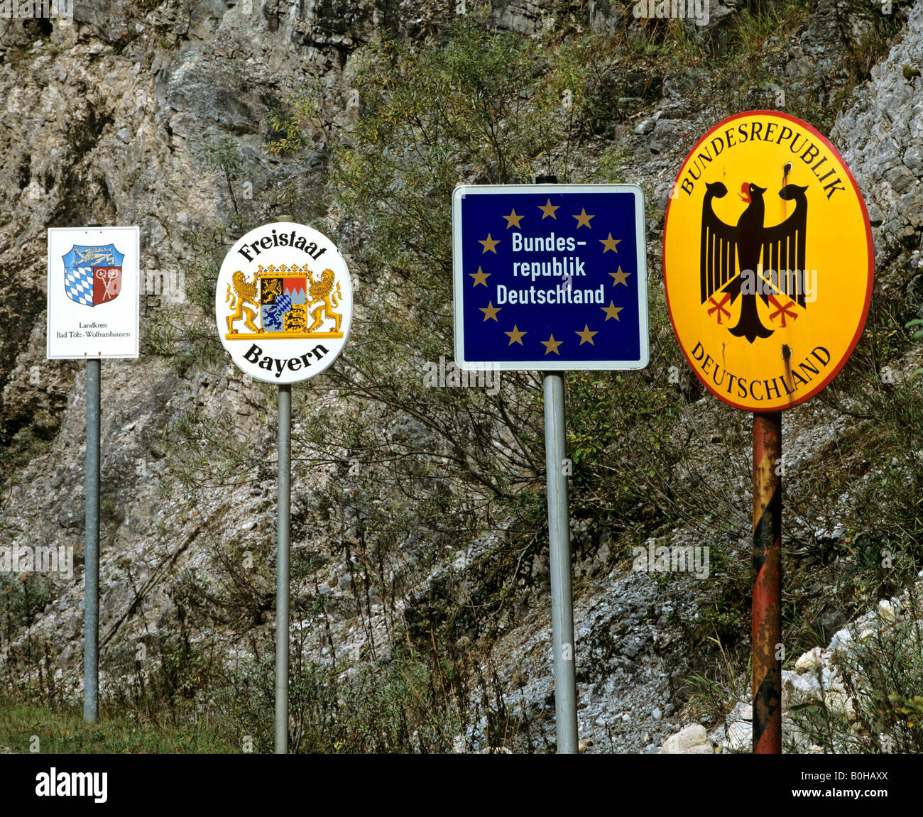 Fesselnd Border Crossing Near Vorderriss, Border Signs, Bad Toelz, Wolfratshausen,  Bavaria, Europe, Germany,