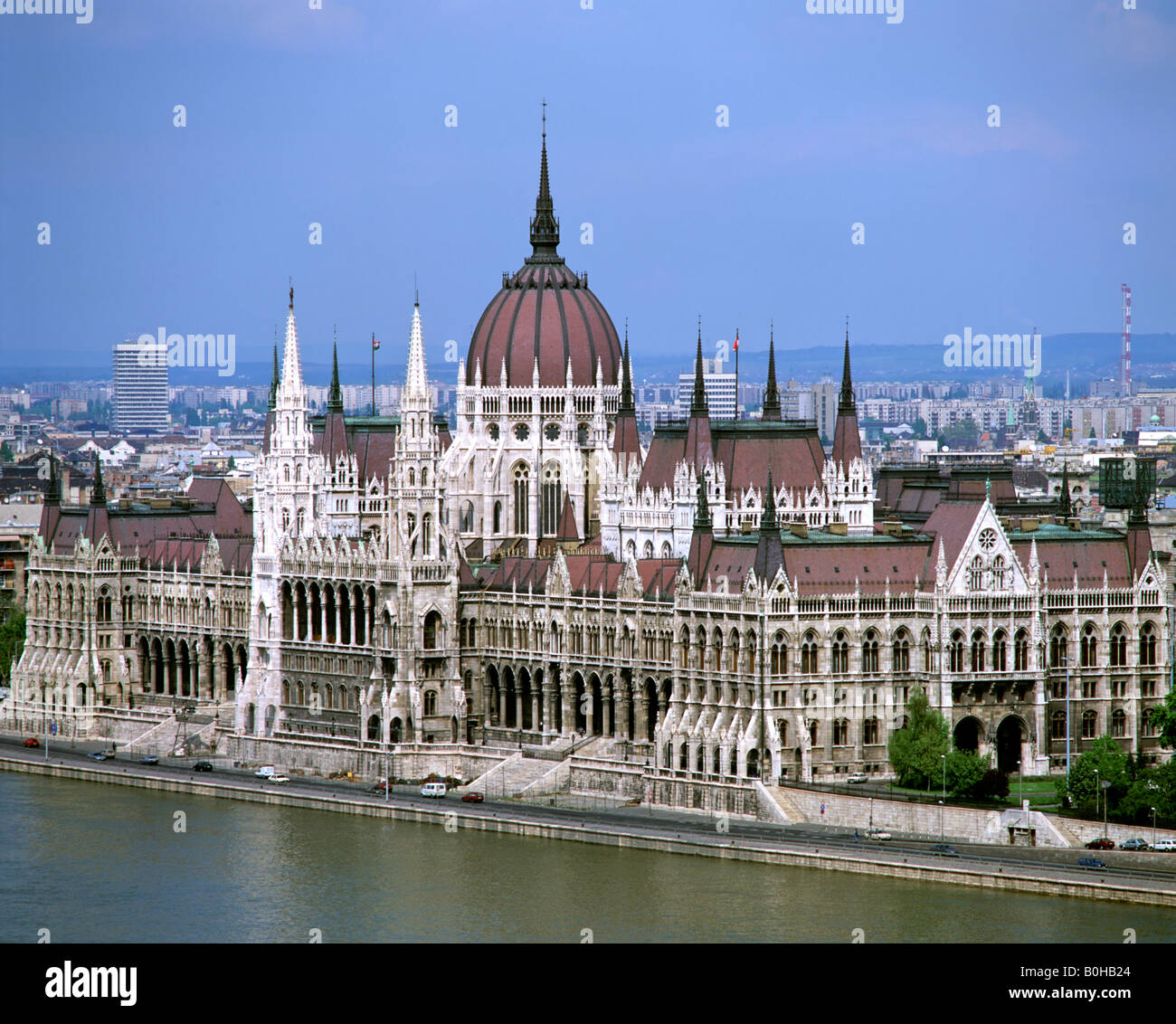 Parliament building along the Danube, Budapest, Hungary - Stock Image