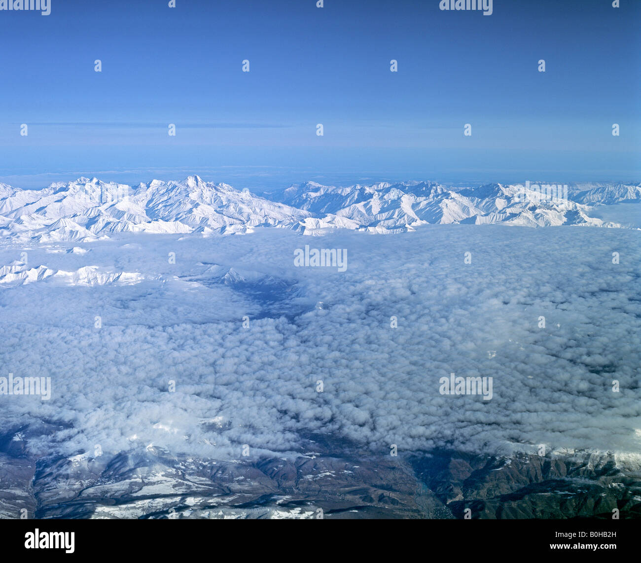 Lesser Caucasus, aerial view from a height of 10 000 m, Azerbaijan, Russia - Stock Image