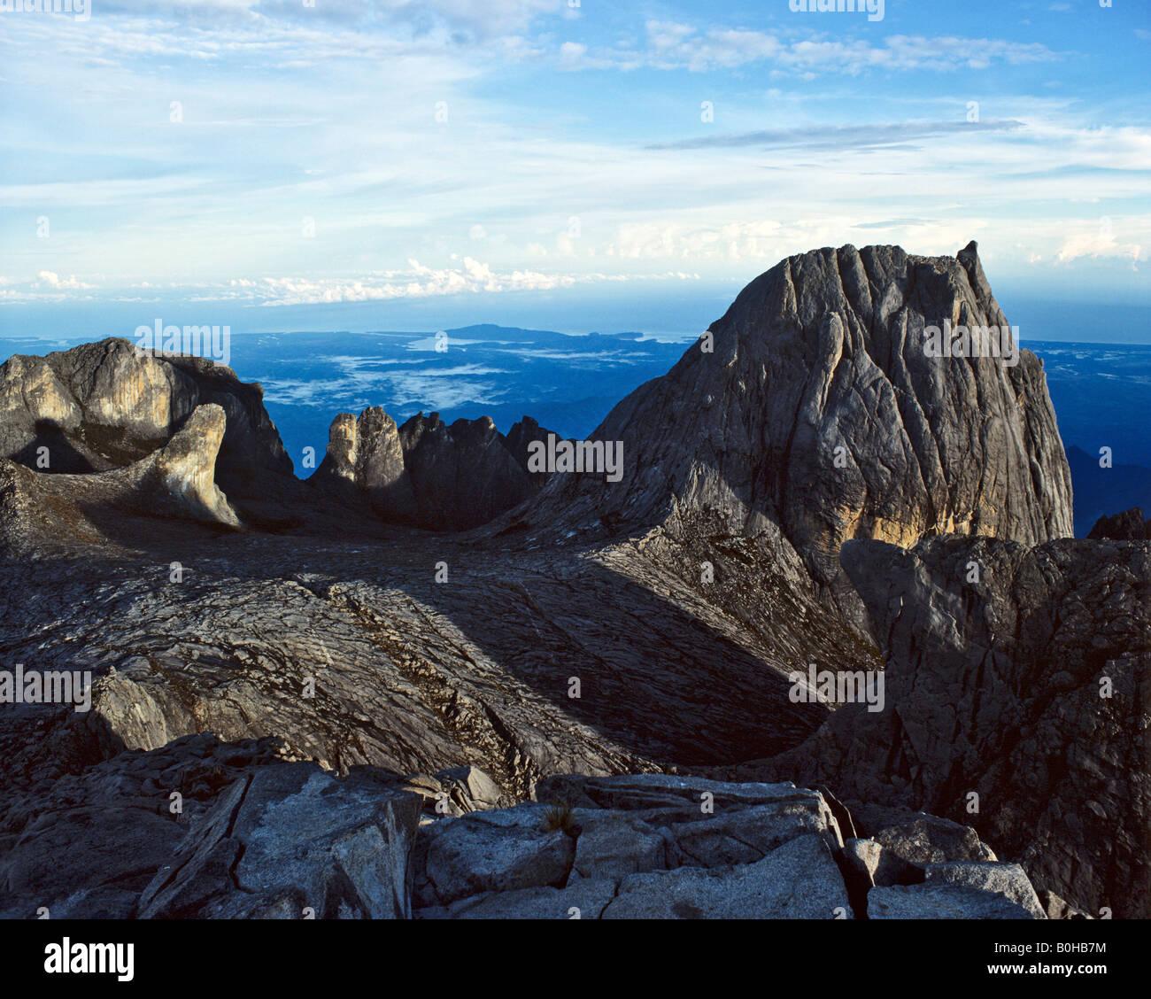 View from the peak of Mount Kinabalu, 4095 metres, Eastern Malaysia, Sabah, Borneo, Malaysia - Stock Image