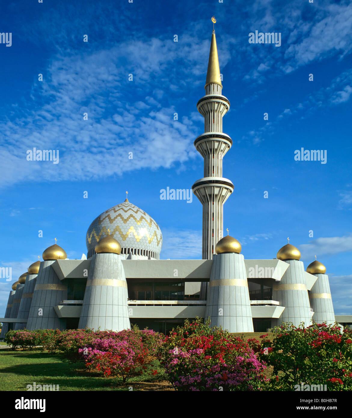 State mosque, minaret, Kota Kinabalu, eastern Malaysia, Sabah, Borneo, Malaysia - Stock Image