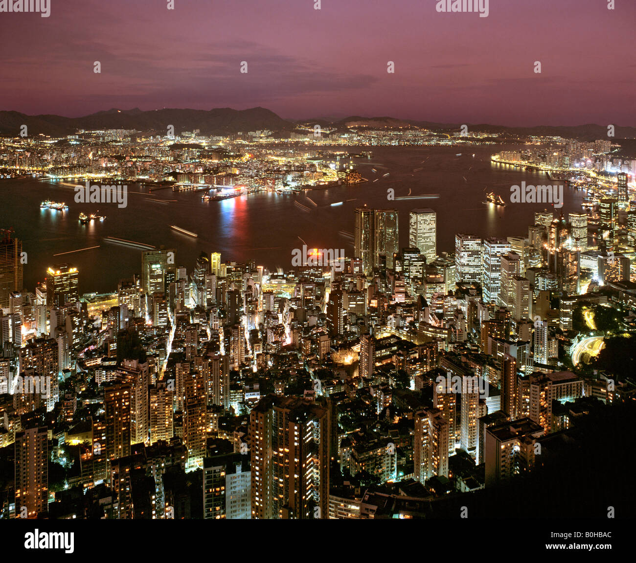 Hong Kong skyline, dusk, view from Victoria Peak over Central Victoria Island, Hong Kong, China - Stock Image