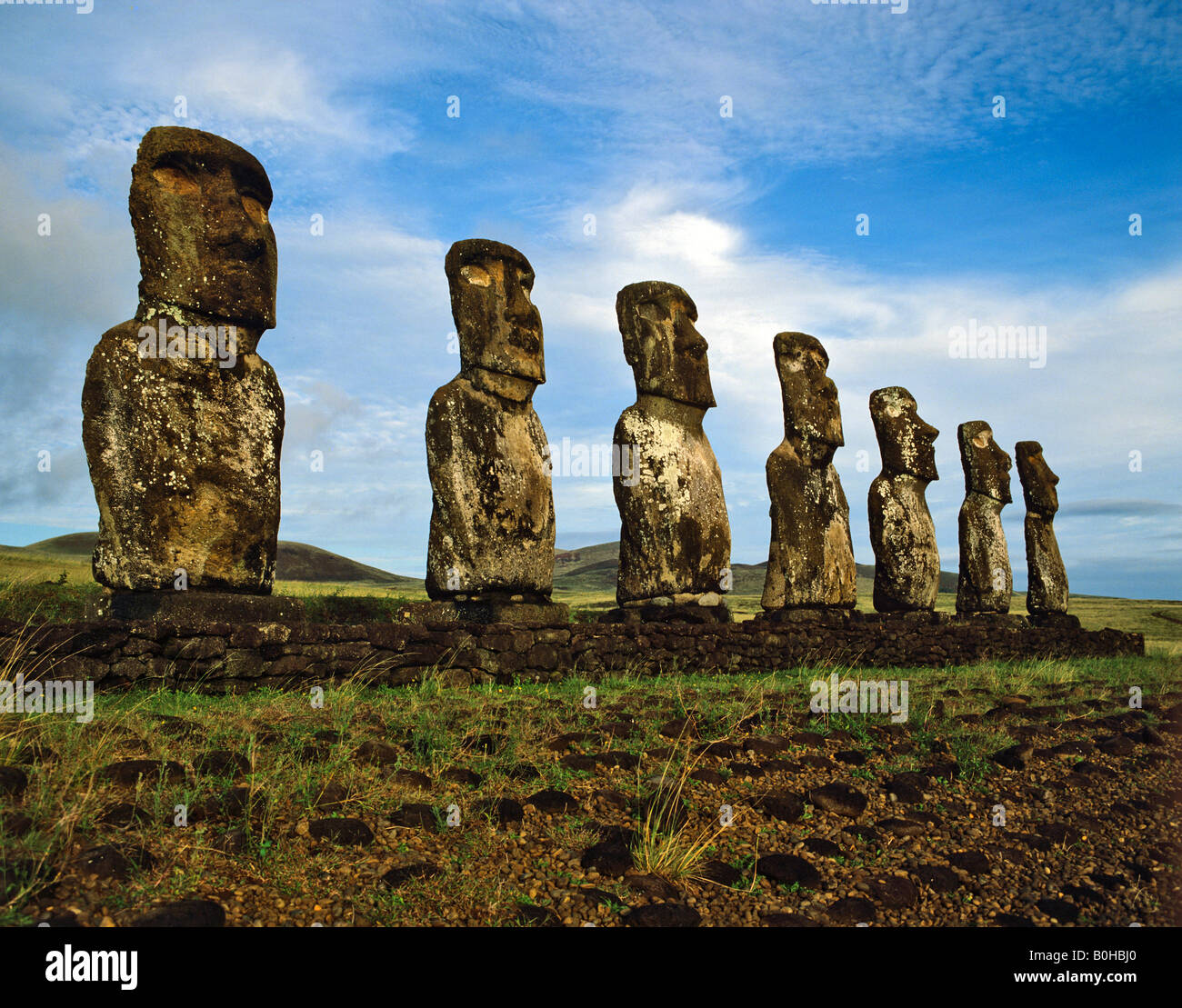 Seven moais of Ahu Akivi, stone sculptures, Rapa Nui National Park, Easter Island, Chile, Oceania - Stock Image