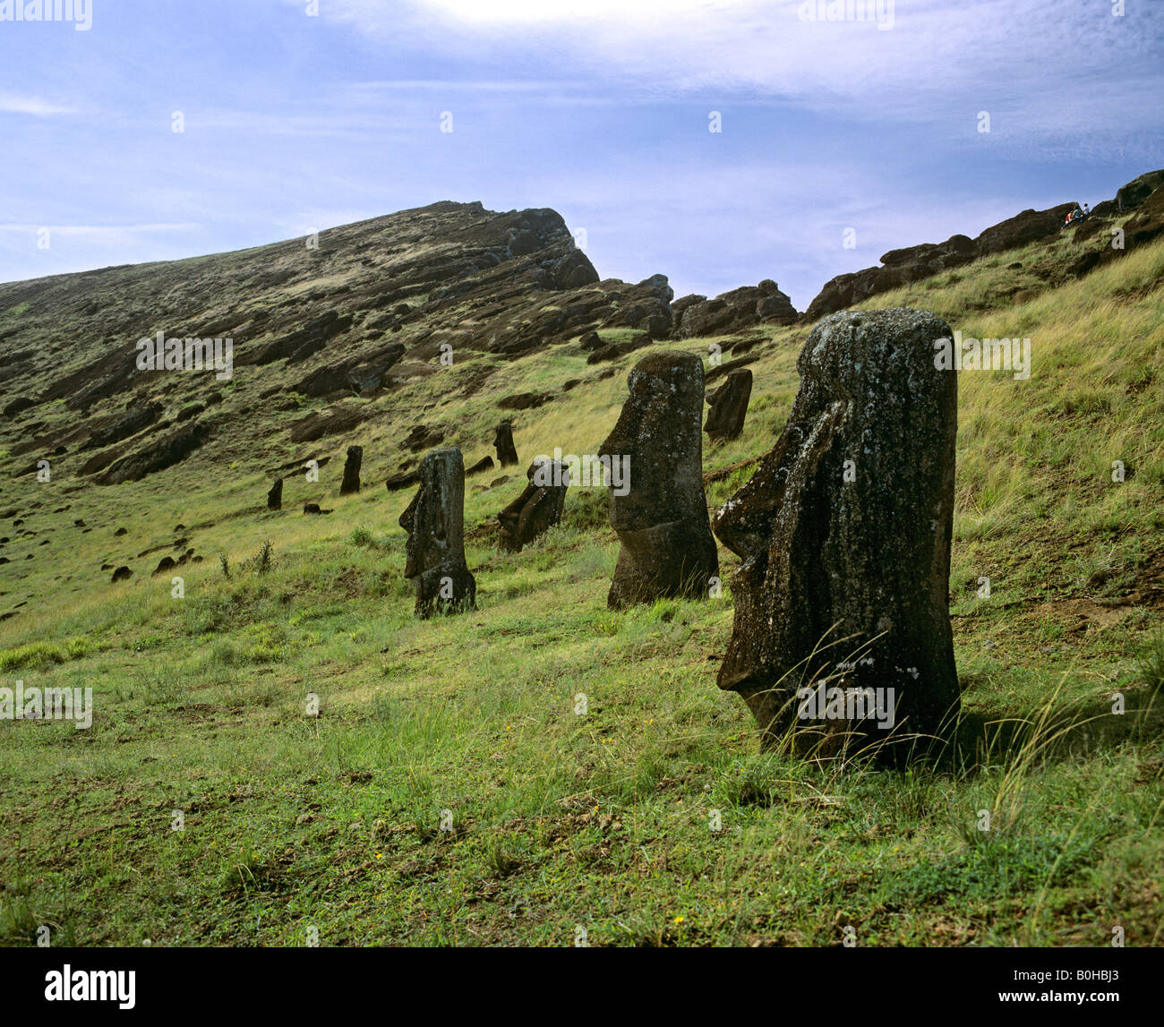 Moais in a caldera, stone sculptures made from tuff rock, Easter Island, Oceania - Stock Image