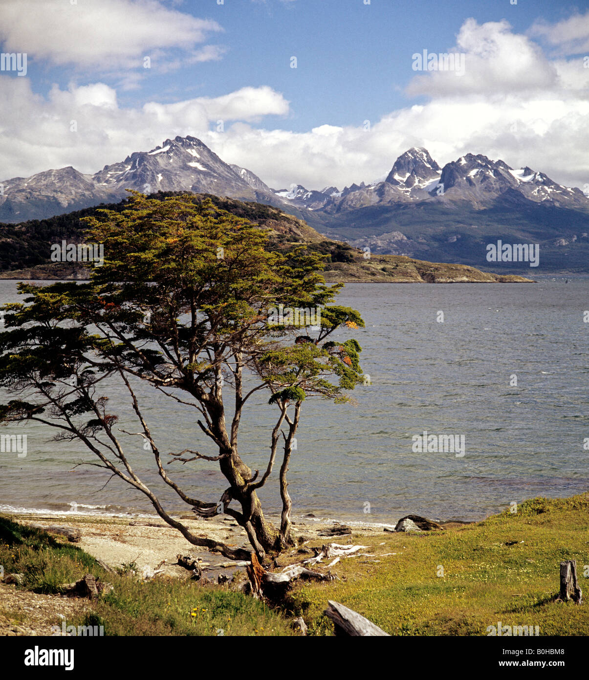 Ushuaia, southernmost town in Argentina, view over Beagle Channel toward the Chilean Andes, Tierra del Fuego National - Stock Image