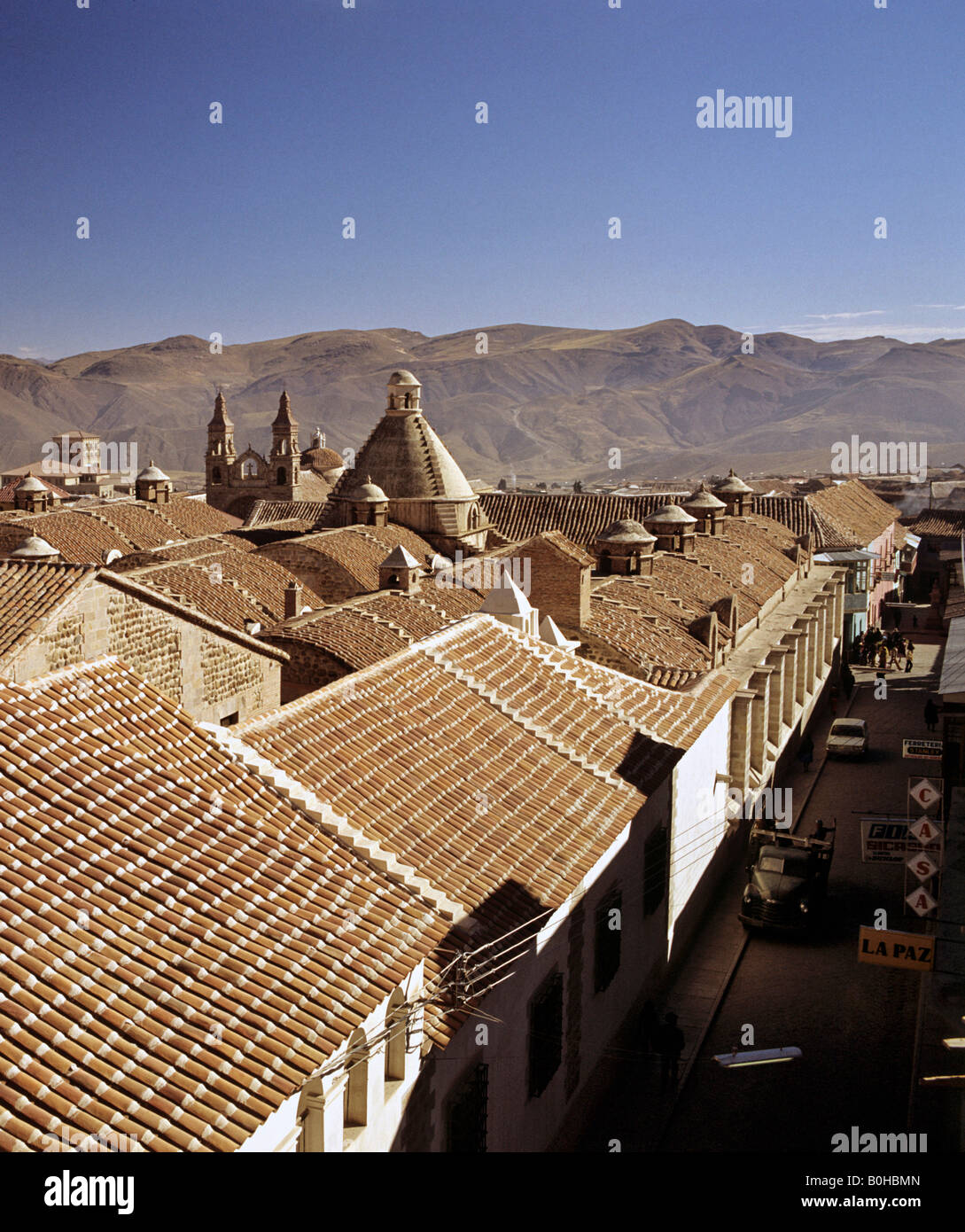 Rooftops and cathedral, Potosi, Bolivia - Stock Image