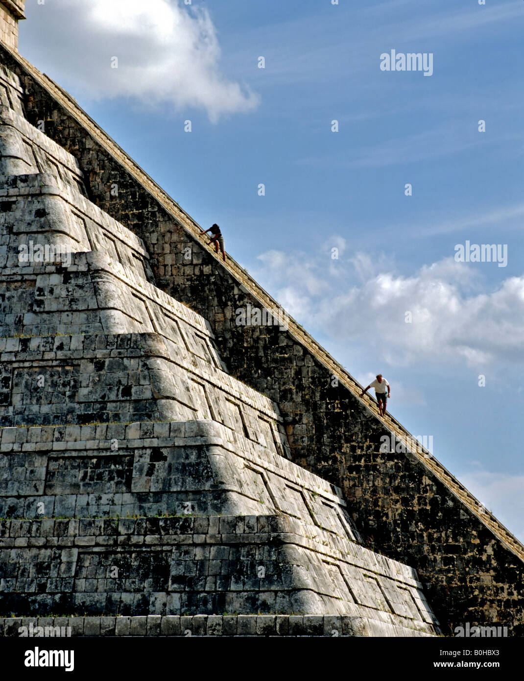 Pyramid, Temple of Kukulkan, Cichen Itza, Maya civilization in Yucatan, Mexico, Central America - Stock Image
