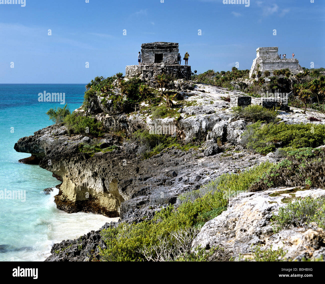 Tulúm, pre-Columbian Maya or Mayan city, ruins at the Maya River, Quintana Roo, Mexico, Central America - Stock Image