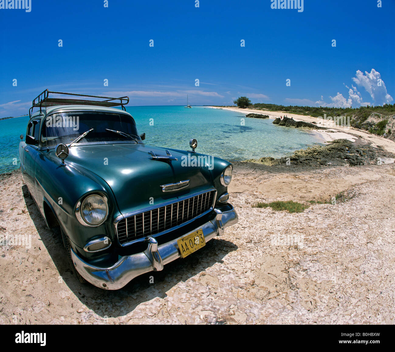 Vintage Car Playa Pillar Beach Cayo Guillermo Island Cuba Carribean