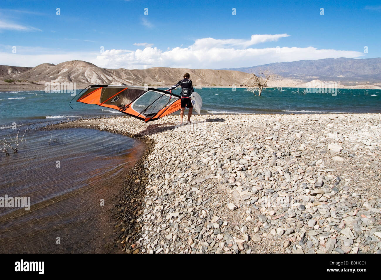 Windsurfer in wetsuit carrying his board and sail across the arid gravel windswept lake shore surrounded by mountains, Stock Photo