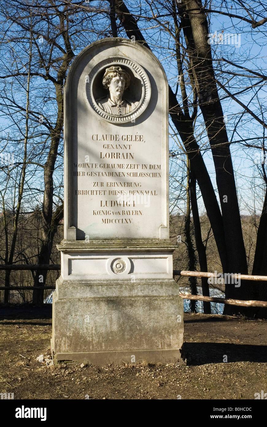 Memorial for Claude Gelée, called Claude Lorrain, Munich Harlaching, Bavaria, Germany - Stock Image