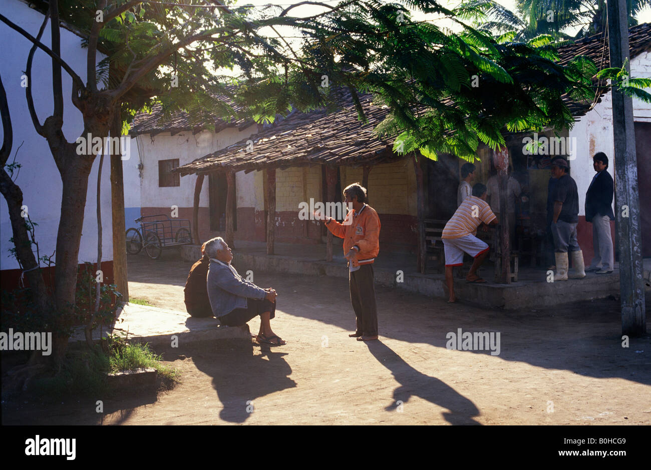 Street scene in Mexcaltitan, Nayarit, Mexico - Stock Image