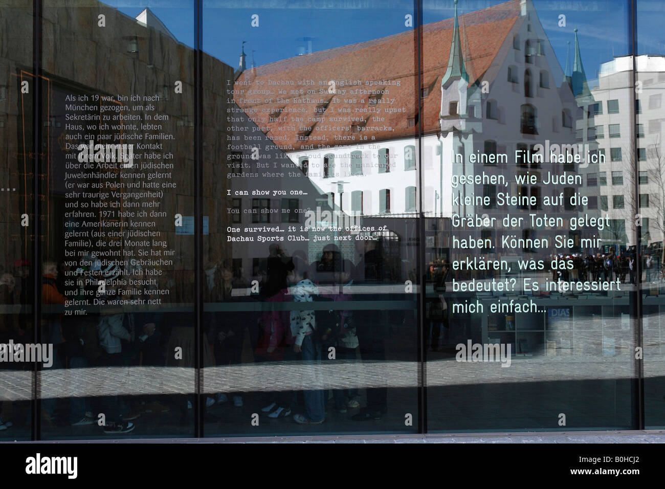 Munich City Museum reflected in the glass facade on the Jewish Museum, Jakobsplatz, Jacob's Square, Munich, - Stock Image