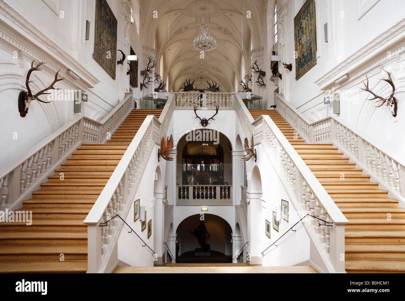 Staircase, White Hall, Deutsches Jagd- und Fischereimuseum, German Hunting and Fishing Museum in the former Augustinerkirche - Stock Image