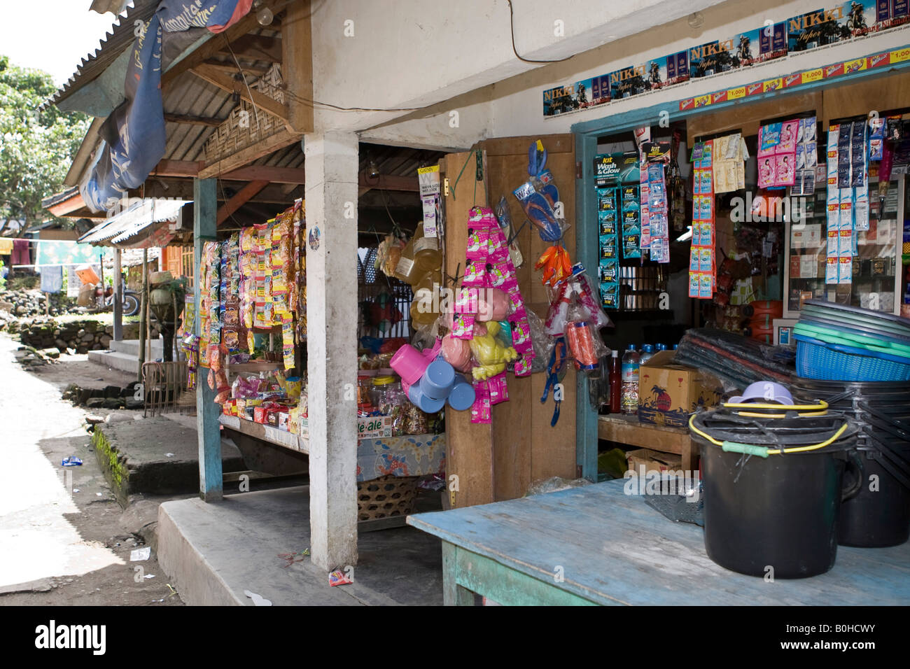 Characteristic small supermarket in a country village in the south of Lombok Island, Lesser Sunda Islands, Indonesia - Stock Image