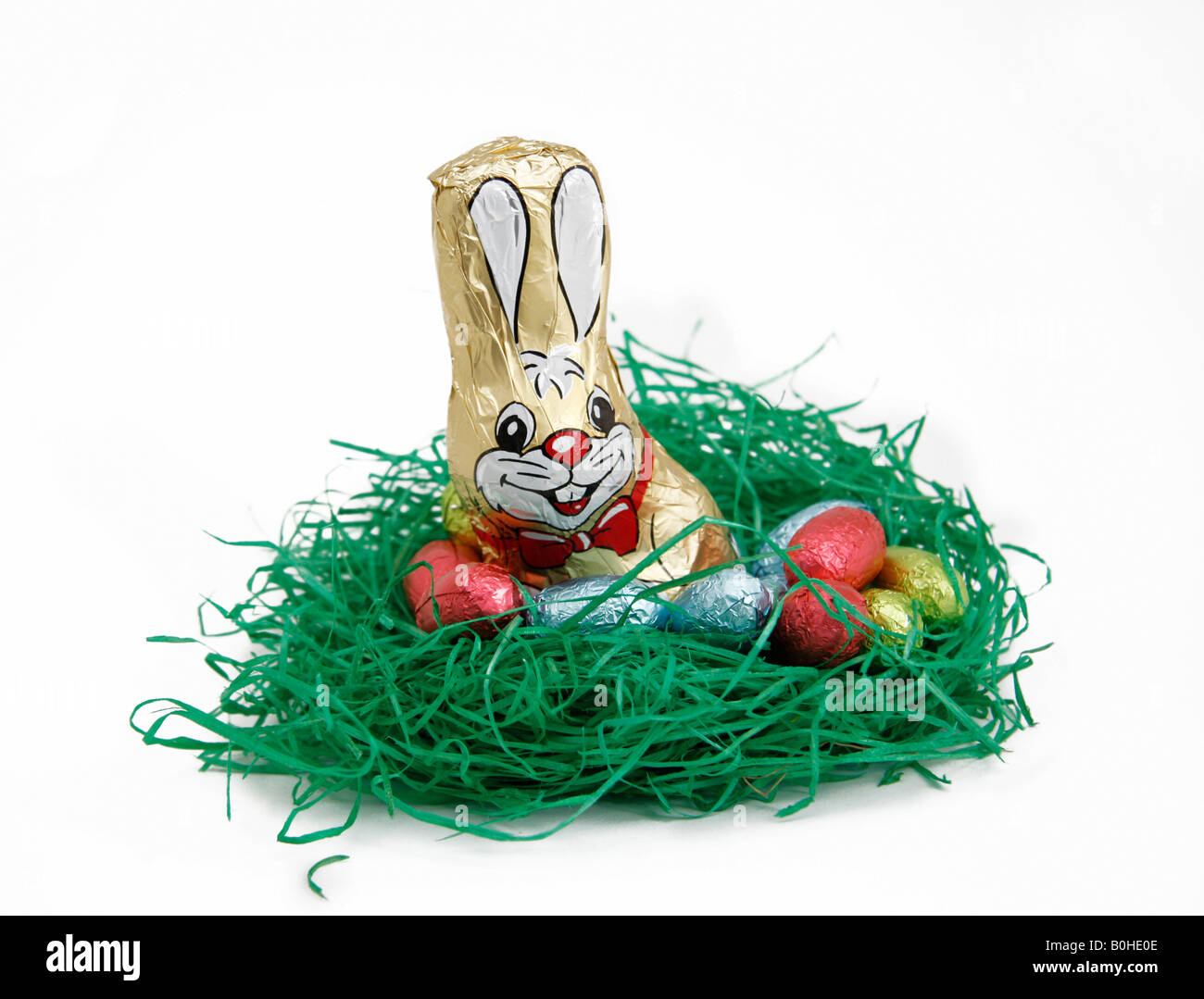 Easter bunny and chocolate eggs in a nest Stock Photo
