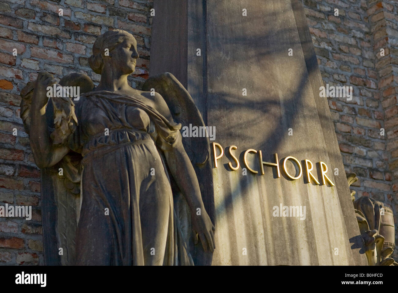 Grave of the Pschorr Family of beer brewers, Alter Suedfriedhof, old cemetery in Munich, Bavaria, Germany - Stock Image