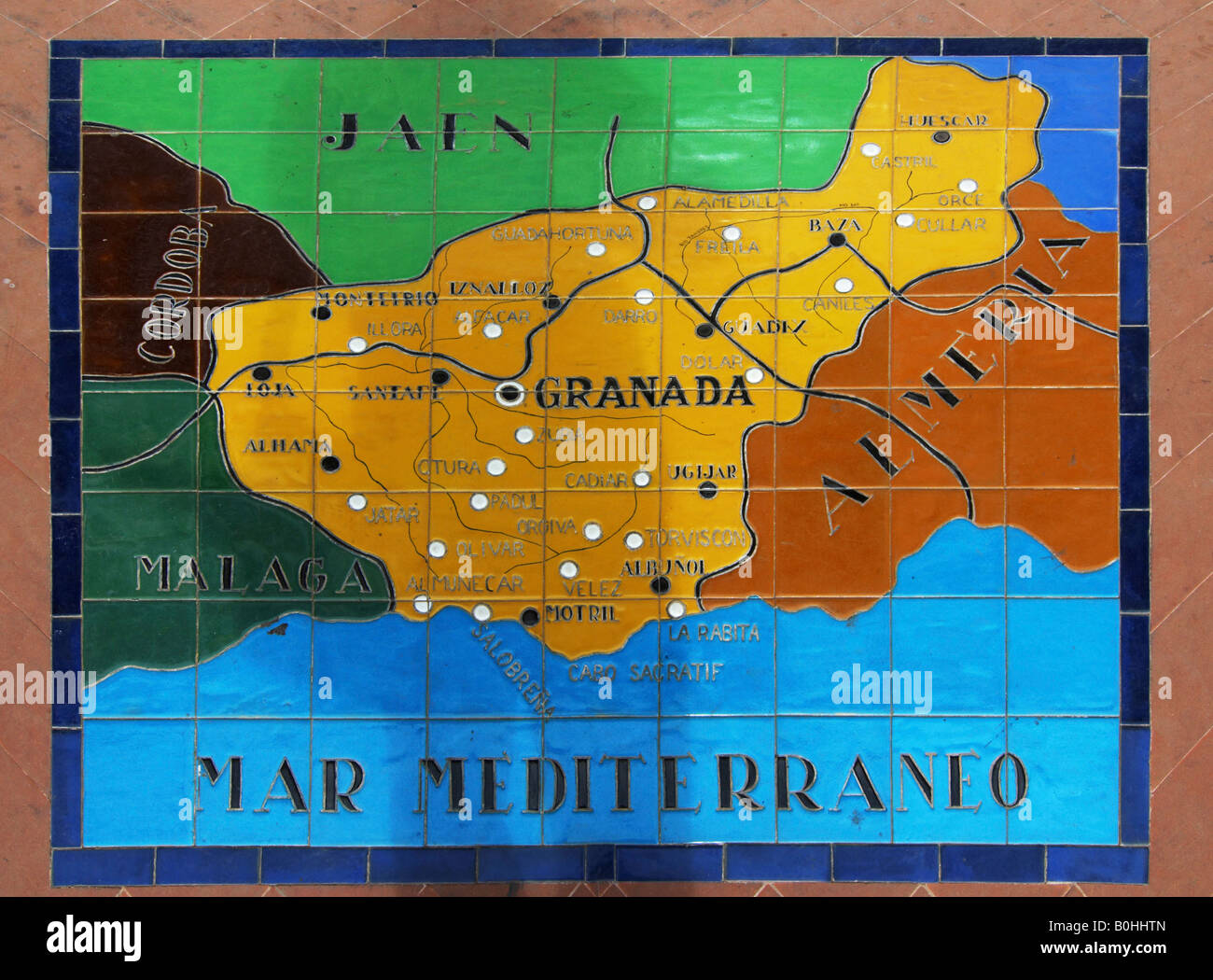 Map Of Spain Showing Seville.Map Showing Parts Of Spain On Ceramic Tiles At The Palacio De Espana