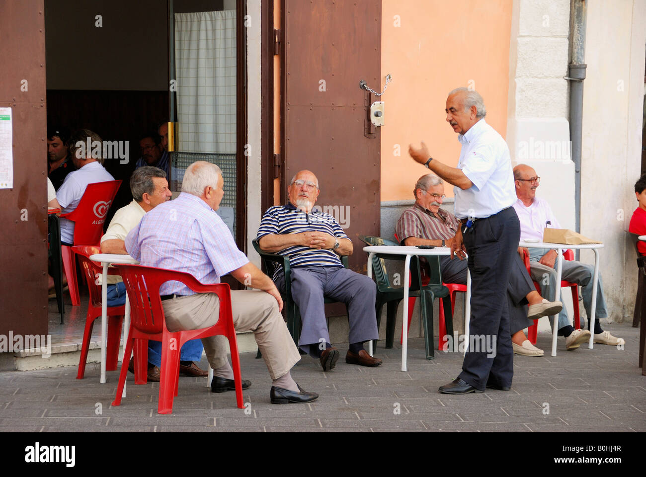 Chatting, café, Rivello, Basilicata region, province of Potenza, South Italy, Italy, Europe - Stock Image