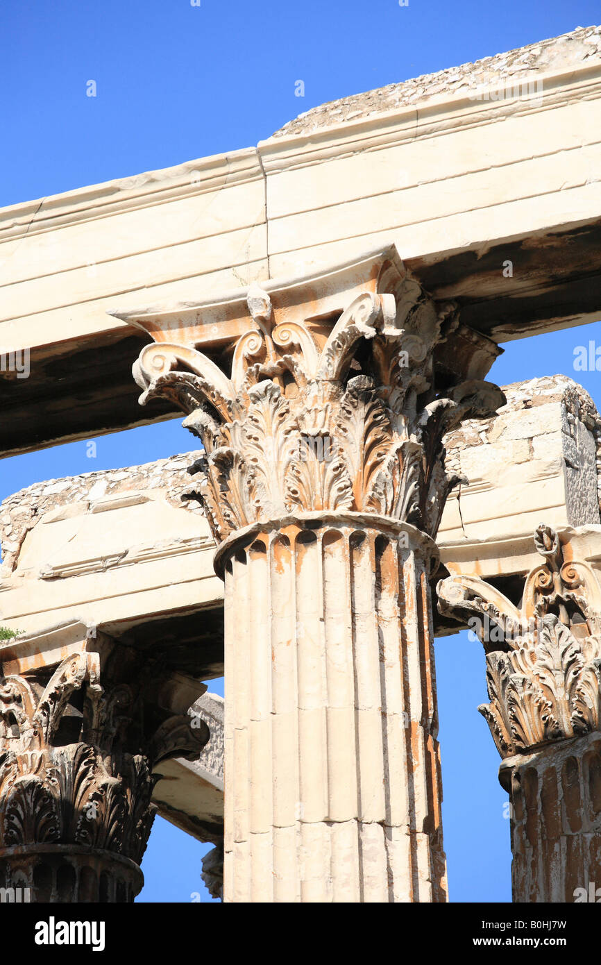 Pillar detail, Olympieion or Temple of Olympian Zeus, Athens, Greece - Stock Image