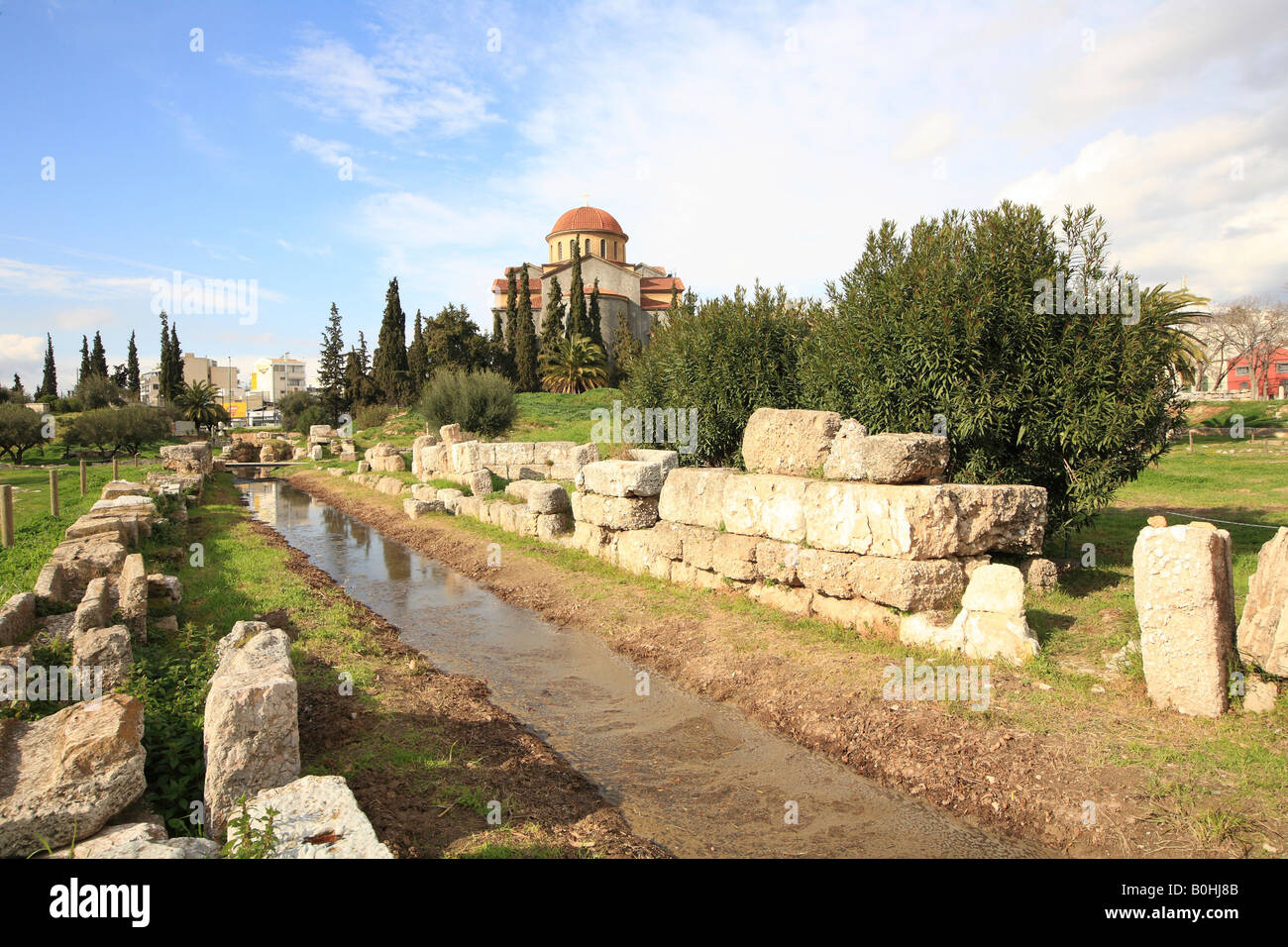 Agia Triada Church at back, Kerameikos Cemetery, Athens, Greece - Stock Image