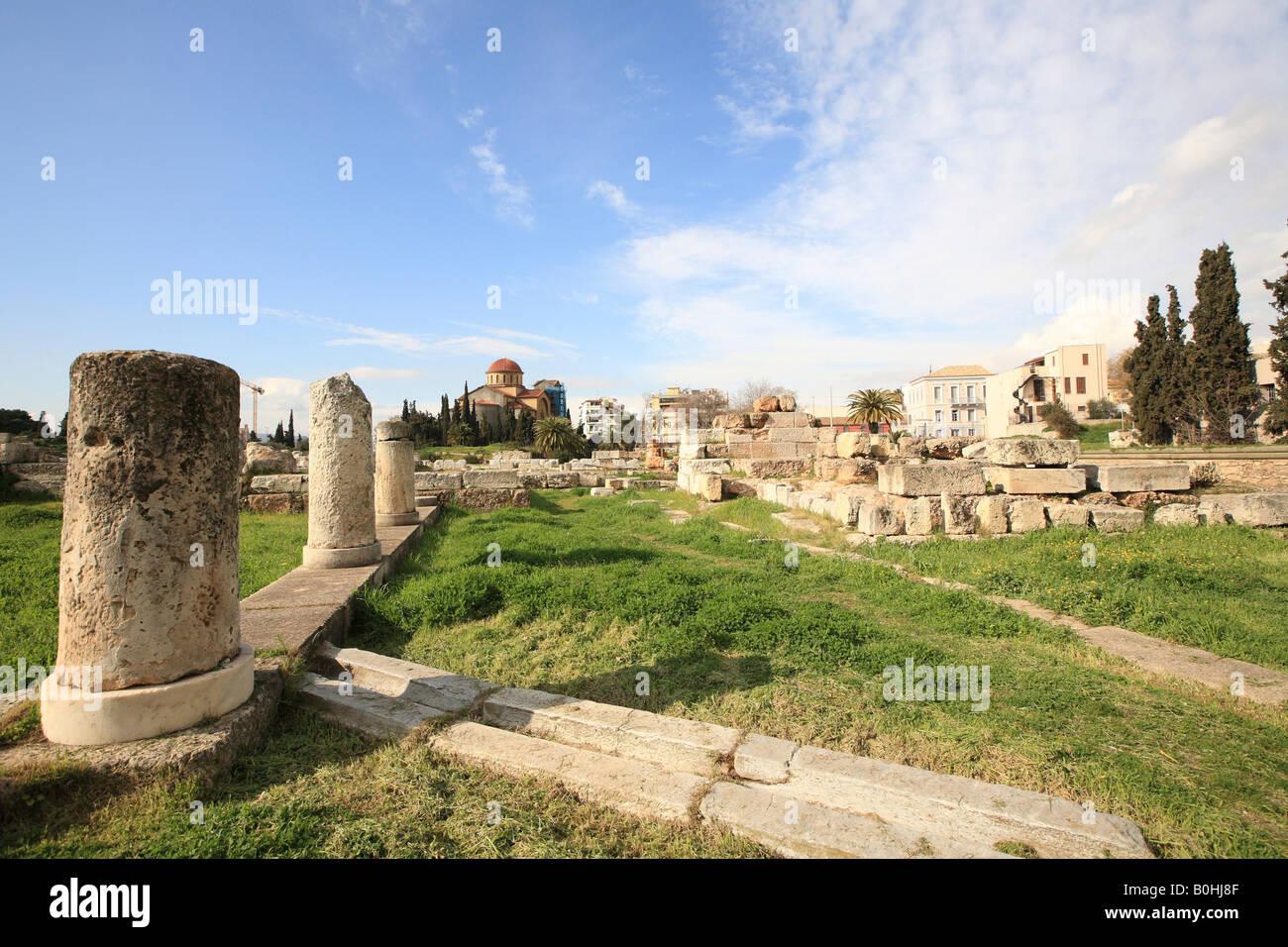 Agia Triada Church at back and view of Kerameikos Cemetery, Athens, Greece - Stock Image