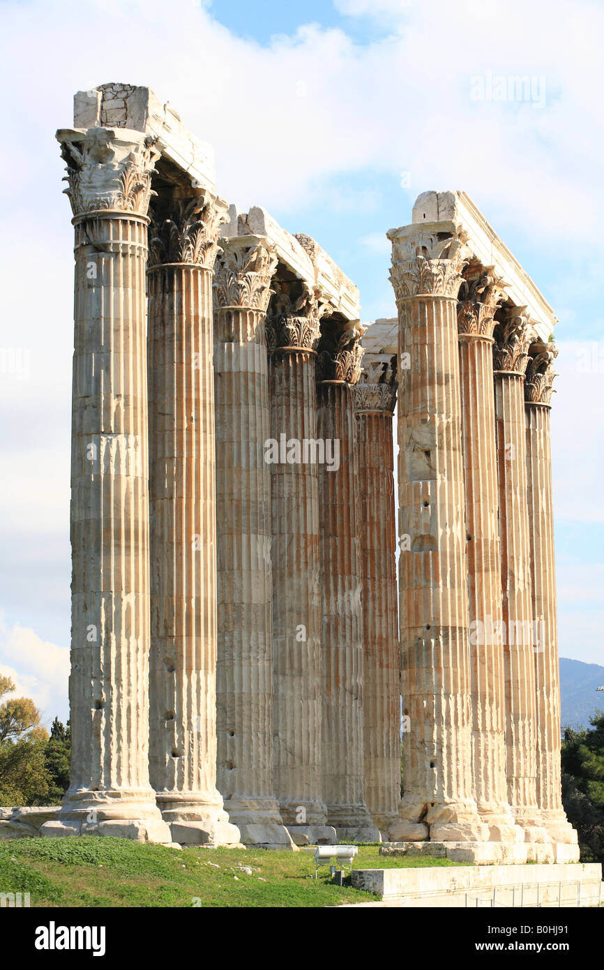 Columns, ruins, Olympieion or Temple of Olympian Zeus, Athens, Greece - Stock Image