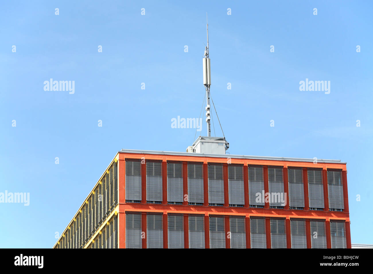 Antenna on the roof of an office tower, Alte Messe Muenchen