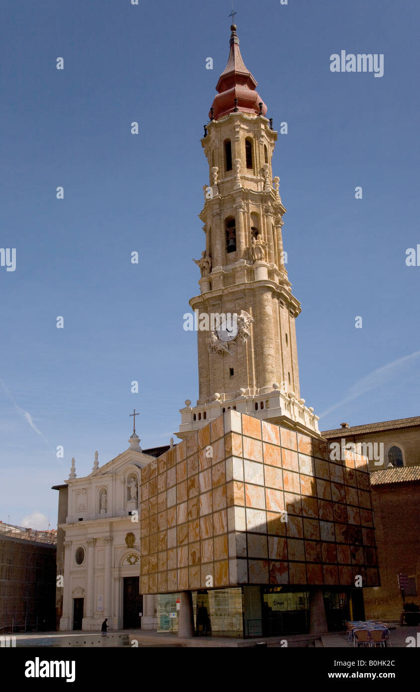 Belfry or bell tower of the Catedral de San Salvador cathedral, La Seo, in Saragossa or Zaragoza, Castile, Aragon, Stock Photo