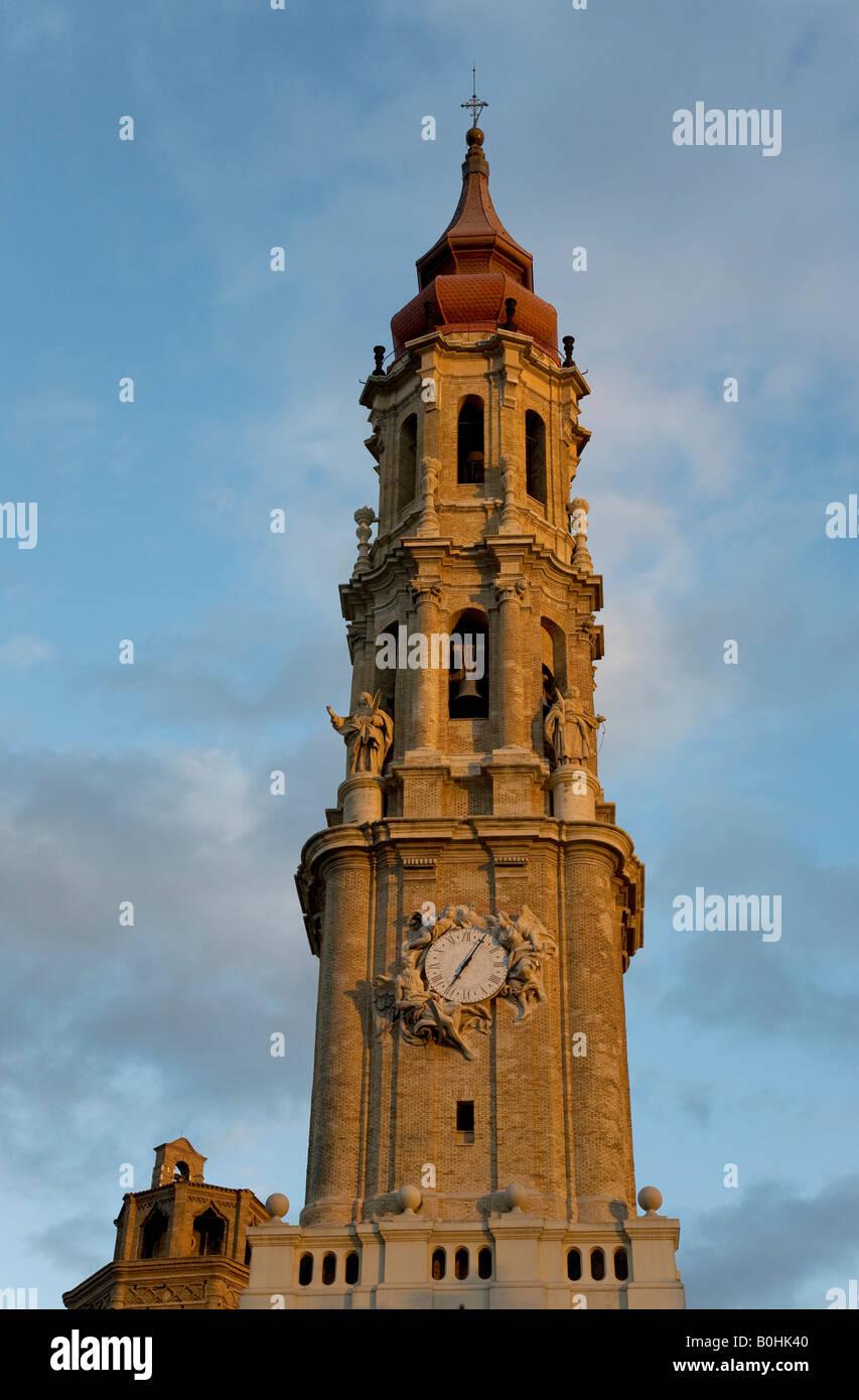 Belfry or bell tower of the Catedral de San Salvador cathedral, La Seo, in Saragossa or Zaragoza, Castile, Aragon, Stock Photo
