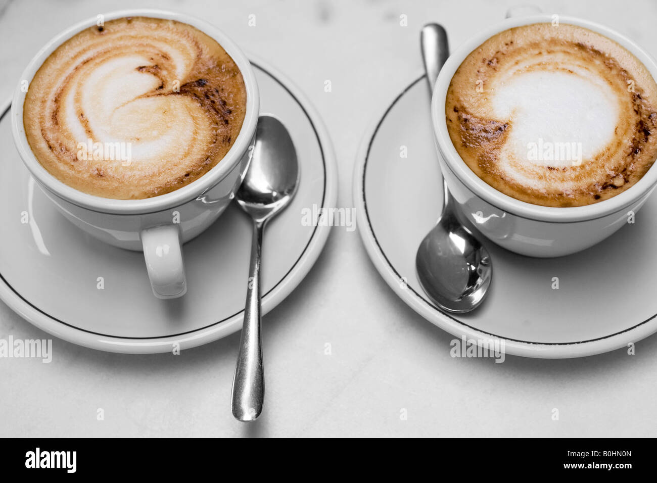 Two cups of cappuccino - Stock Image