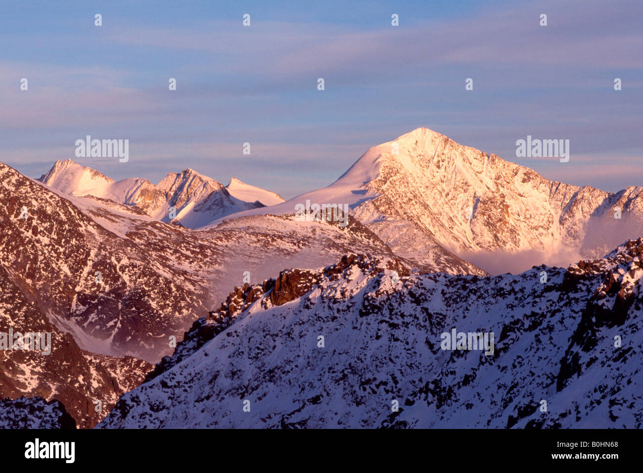 Mt. Finailspitze, Mt. Finailkoepfe and Mt. Similaun viewed from Grawand, Schnalstal, South Tyrol, Italy, Europe - Stock Image
