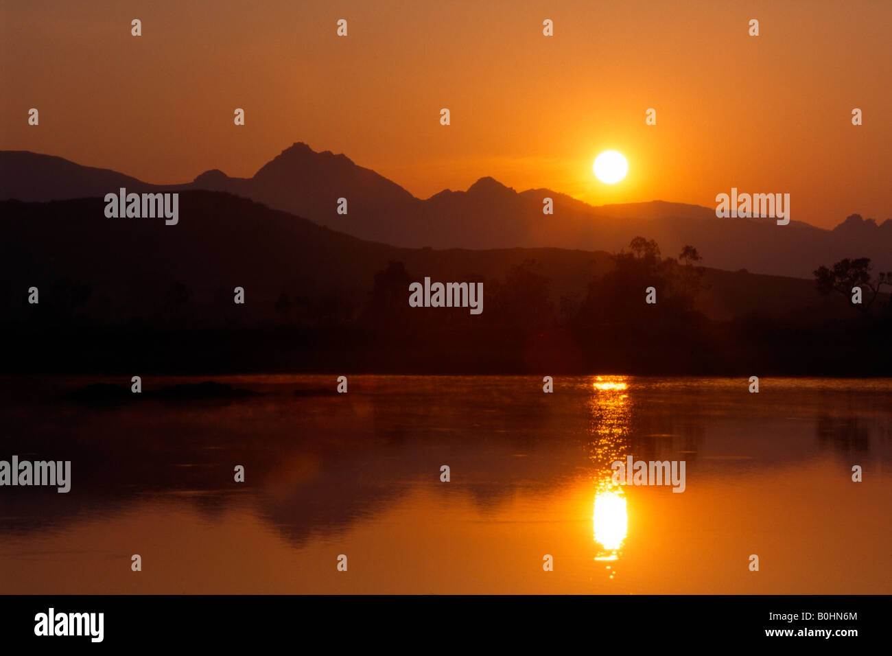 Sunrise over the Karwendel Range, Tyrol, Austria, Europe - Stock Image