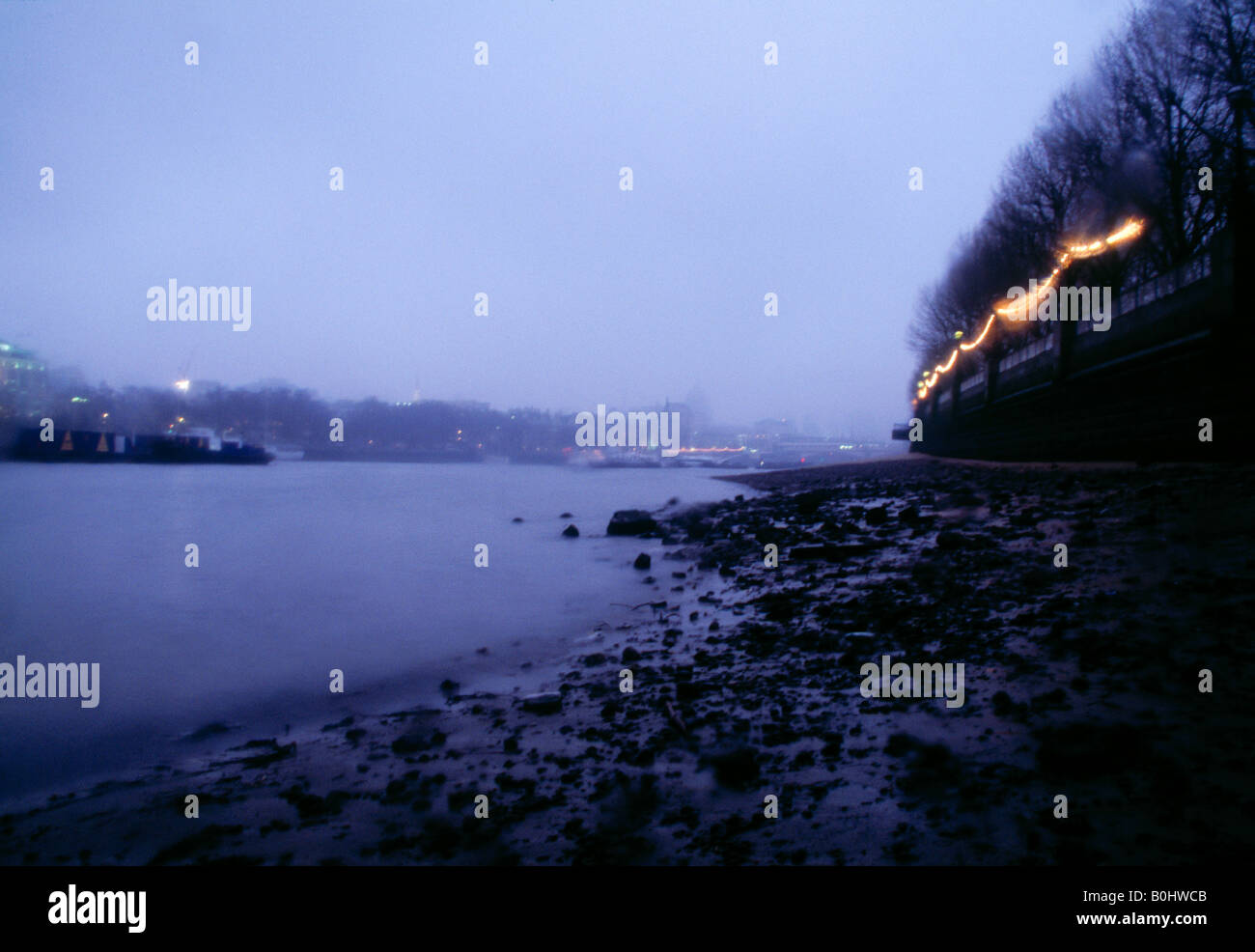 River Thames at a misty Kings Reach, South Bank, London Stock Photo