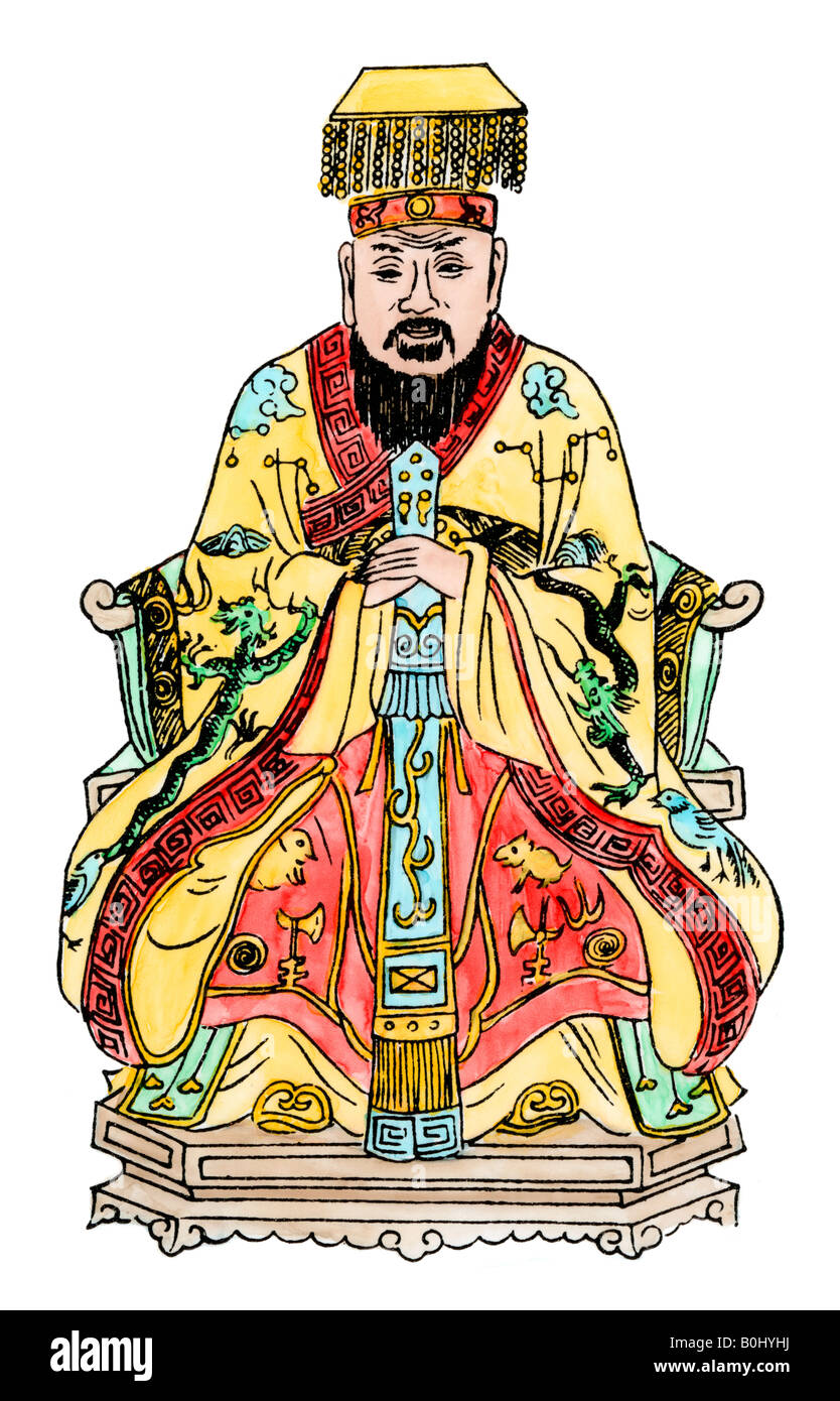 Confucius. Hand-colored woodcut - Stock Image