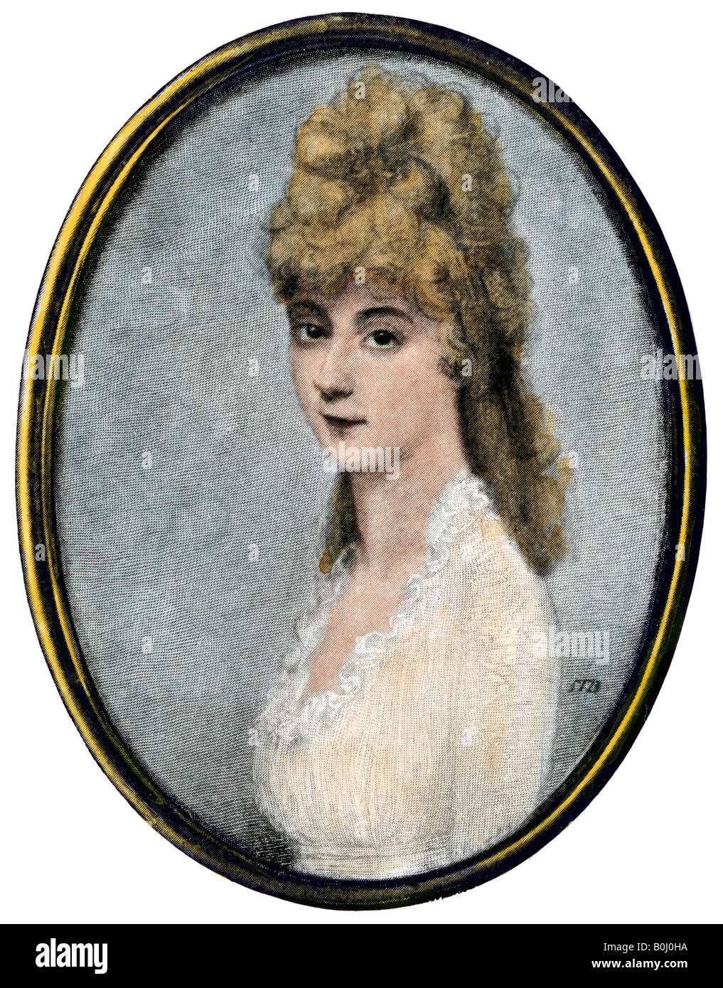 Louisa Johnson Adams wife of John Quincy Adams. Hand-colored halftone of an illustration - Stock Image