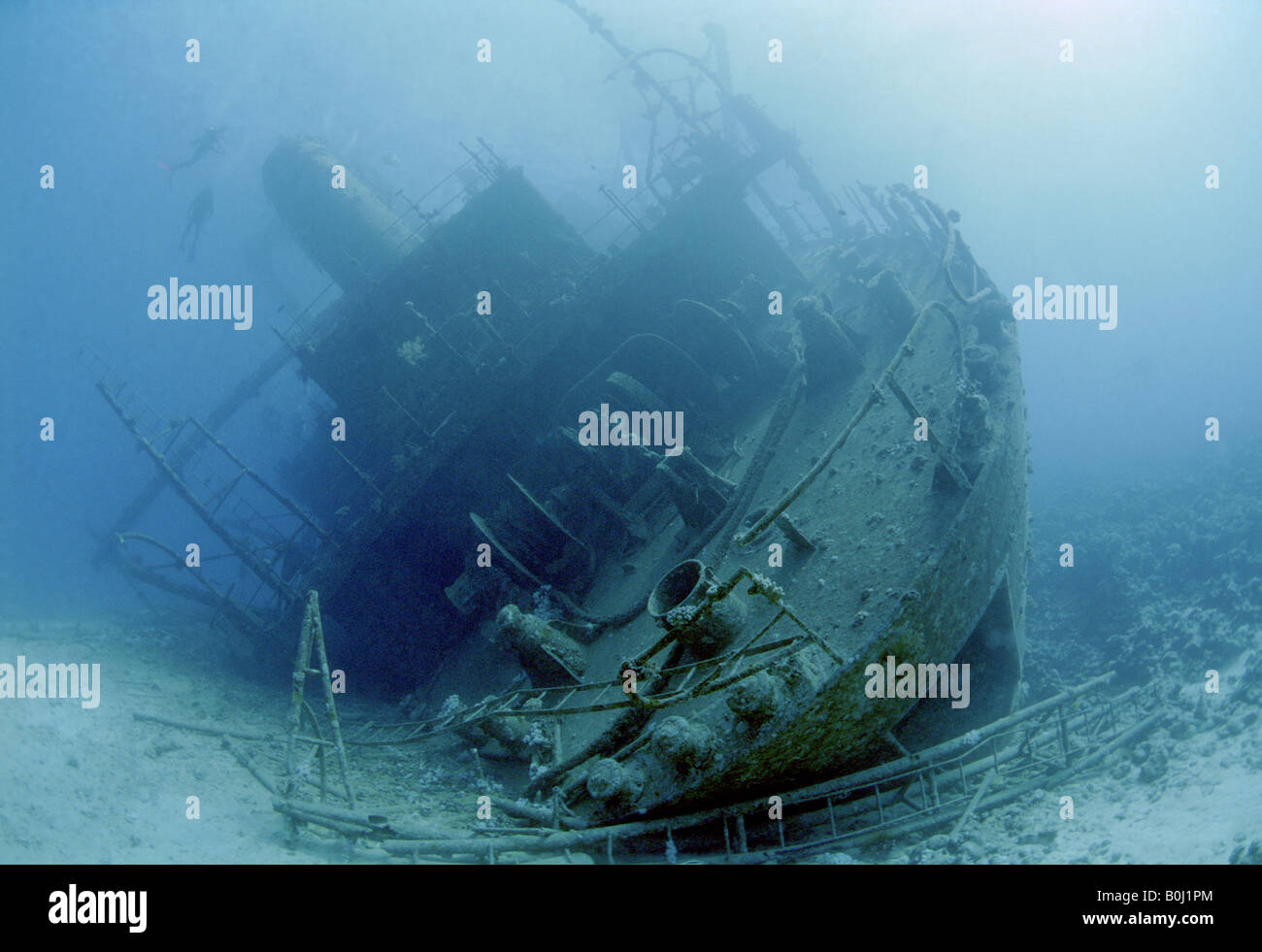 Stern view of the Giannis D shipwreck Abu Nuhas Reef Red Sea Egypt Africa Stock Photo