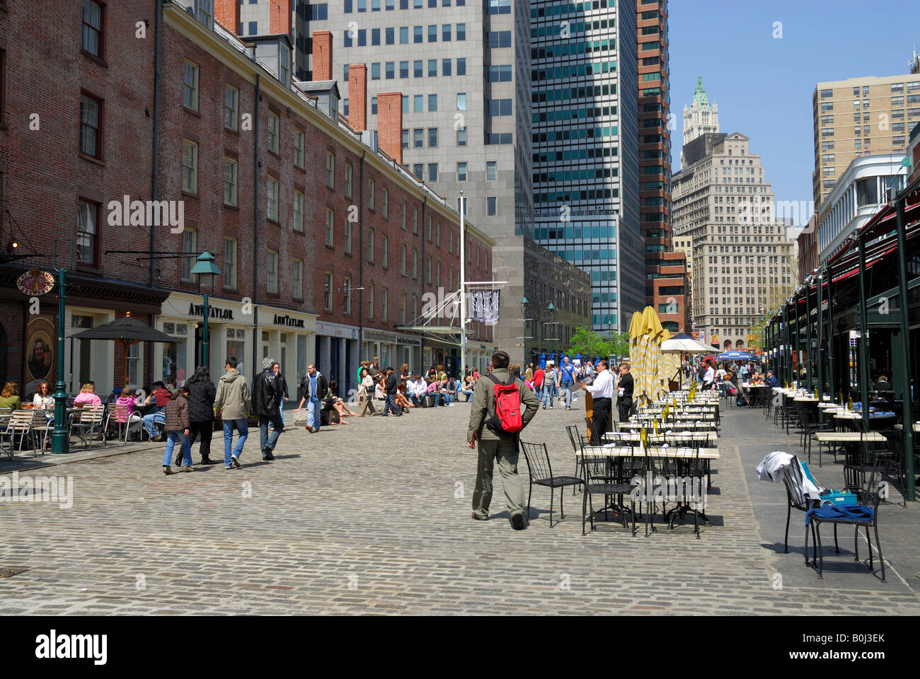 People in the South Street Seaport Historical District, New York - Stock Image