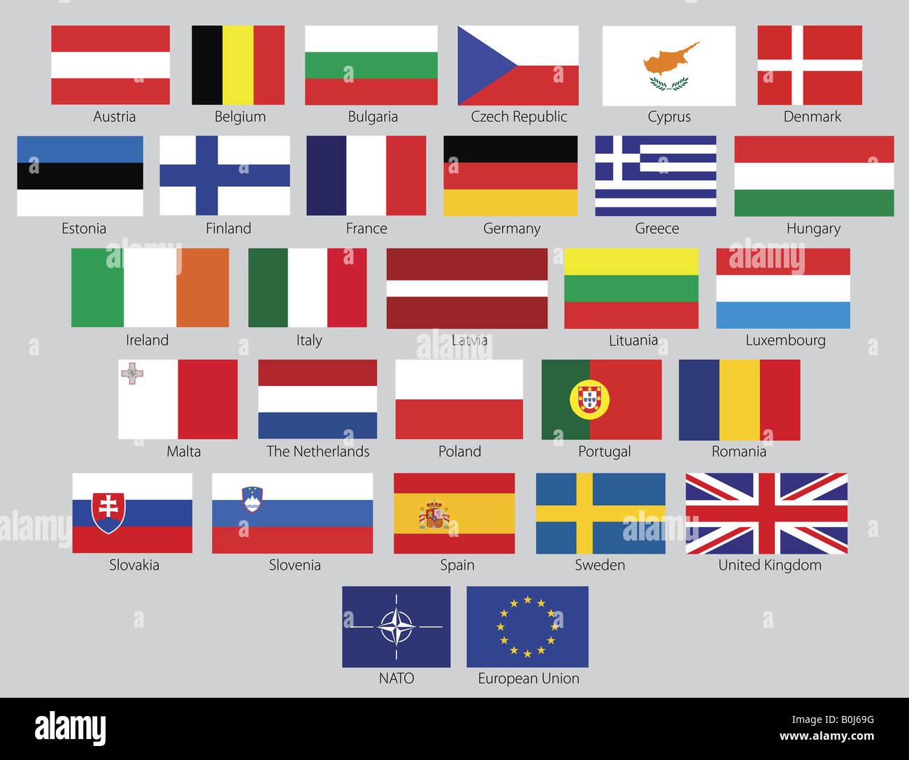 27 Eu Flags Plus Nato And Eu Symbol Stock Photo 17610476 Alamy