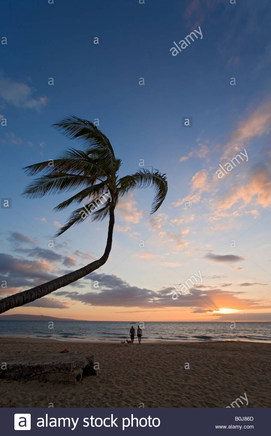 Sunset at Kamaole Beach County Park on the island of Maui in the state of Hawaii USA Stock Photo