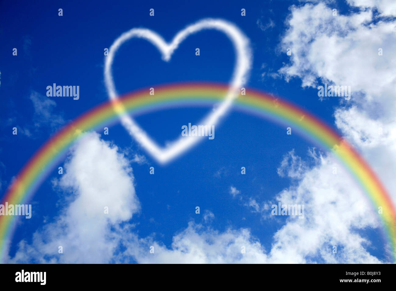 Love heart in the sky with a rainbow - Stock Image