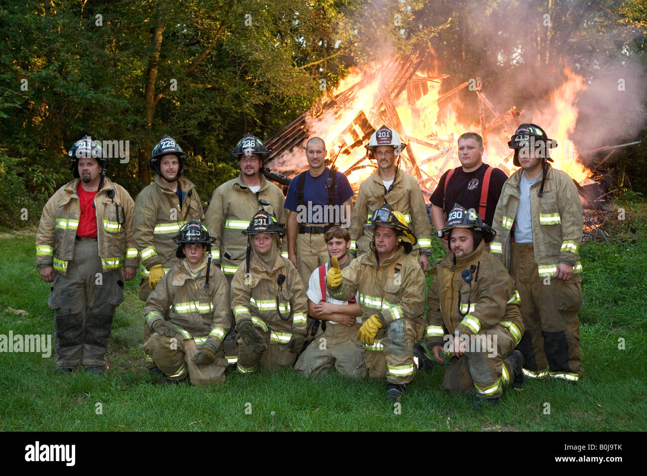 Volunteer Firefighters - Stock Image