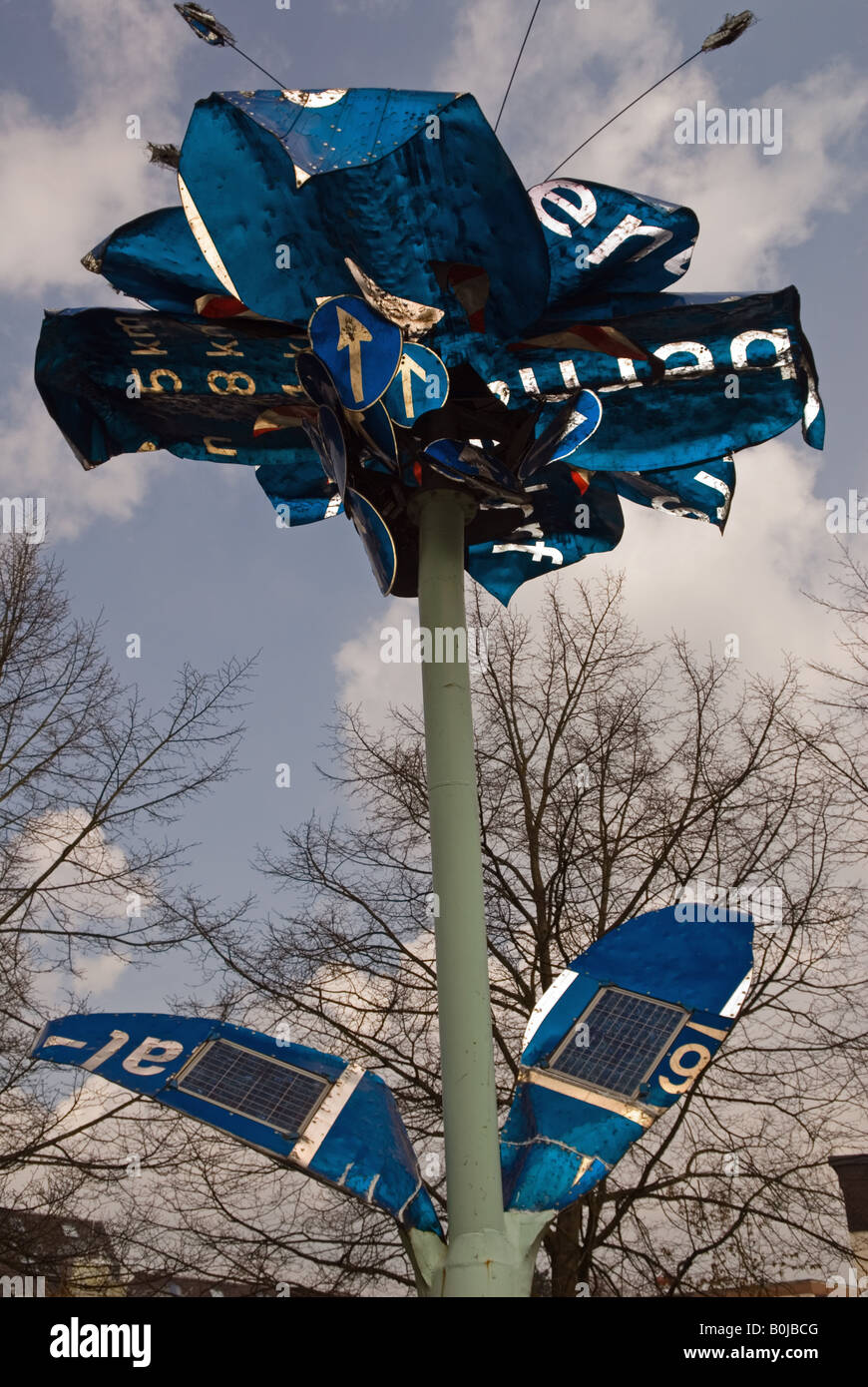 Solar flower\' a sculpture made from road traffic signs with solar ...